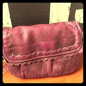 Wristlet - in Burgundy distressed soft 'leather'